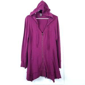 XCVI {Mercantile Hooded Zip Jacket in Berry} M / L